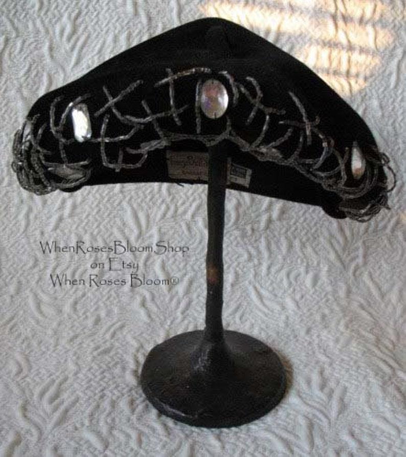f772f71f8ae Vintage Black Hat Jeweled Classic Mid Century Retro Hollywood