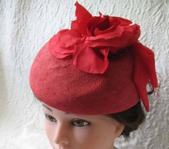Vintage Red Hat Fascinator Princess Diana Kate Mi… - image 4