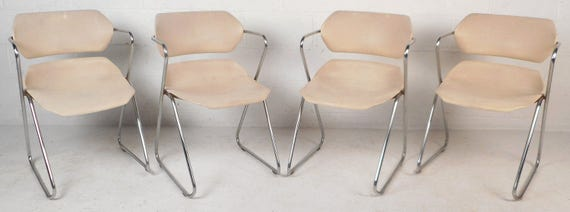 Set Of Four Mid Century Modern Stacking Chairs By Hugh Acton | Etsy