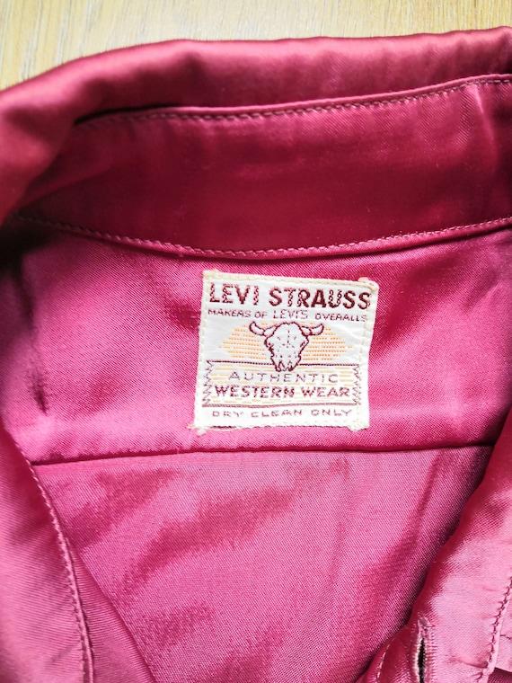 Vintage 1950's Levi Straus Satin Red Western Rode… - image 2