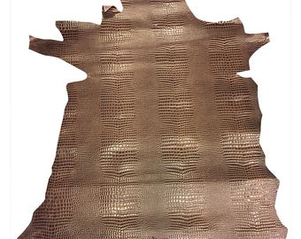 SALE Reptile Embossed Leather Hide Grey Brown Upholstery Crafting Material 899