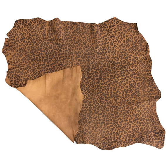 Leopard Print Leather Hides Genuine Suede Thin Lamb Skin Craft DIY Material F612