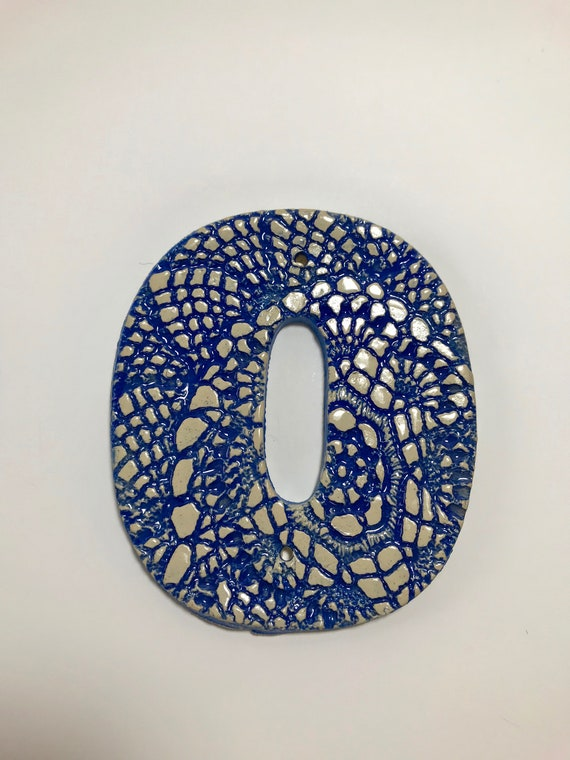 Handmade Ceramic House Address Numbers Two Doily Impression Stoneware Tiles with Nail Holes in Various Glaze Colors Maple Leaf Ceramics
