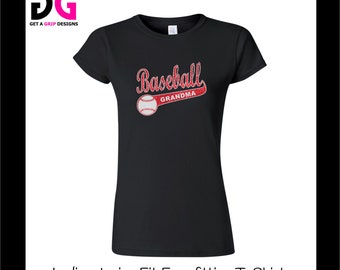 Personalized Baseball Grandma Bling T-Shirt - Ladies Junior Fit