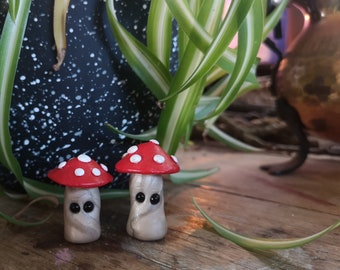 Lil Shroom Pals - Set of two, miniature mushrooms, amanita muscaria, fly agaric, handmade