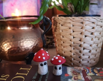 Lil Shrooms - Tiny Wonders - set of two, miniature mushrooms, amanita muscaria, fly agaric, handmade,