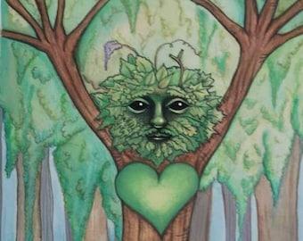 Green Man - A5 Art Print, Faerie Sarah Art