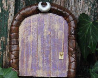 Purple and Golden -Faerie Door with Moon