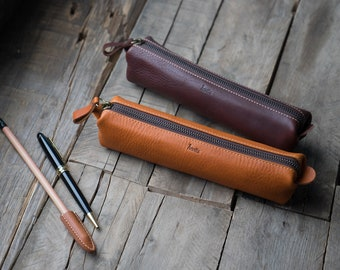 leather pencil case,  Pen Pouch, leather pen case, pen case, pencil zipper case, Origami Pencil Case, 5508,