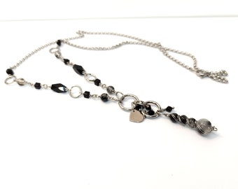 Necklace necklace necklace Quartz tourmaline chain, necklace long necklace necklace pendant pompom, necklace sweater 70 cm stainless steel