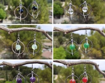 3D ellipse earrings, cornaline sphere earrings, tourmaline, amethyst, prehnite, crystal, stainless green aventurine