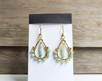 Earrings drop pearl amazonite woven Creole way stainless steel gold vintage style, pastel green and gold