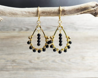 Earrings drop pearl of onyx woven Creole way stainless steel gold vintage style, black and gold