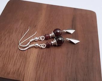925 silver garnet pearl earrings, garnet diamond earrings, natural stone earrings