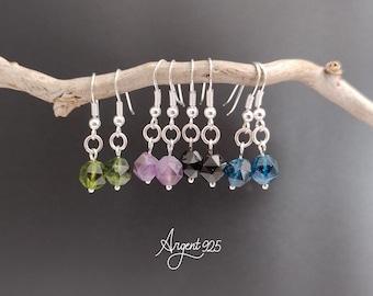 925 Silver Earrings, Onyx, Amethyst, Kyanite, Peredot, Simple Earrings with Stone