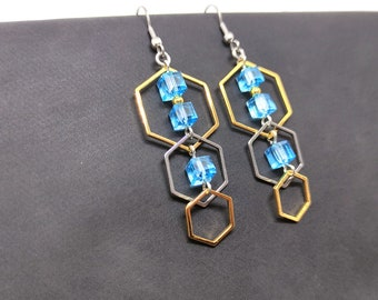 Gold hexagonal and silver blue stainless steel earrings