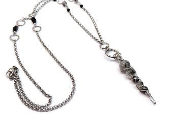 Quartz tourmaline chain necklace necklace, long necklace pendant necklace tip, stainless steel pull necklace