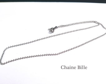 60 cm chain necklace for pendant - stainless steel, ball-shaped chain