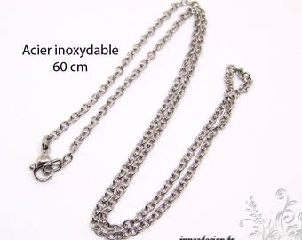 60 cm chain necklace for pendant - stainless steel, coasy mesh neck