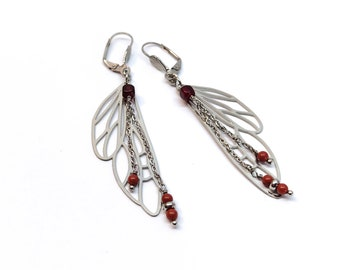 Fairy wing earrings and stainless steel, red butterfly dragonfly wing