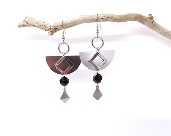 Geometric earrings onyx black polygon half-circle stainless steel diamond