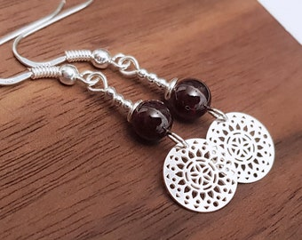 925 silver garnet sun earrings, burgundy earrings, natural stone earrings