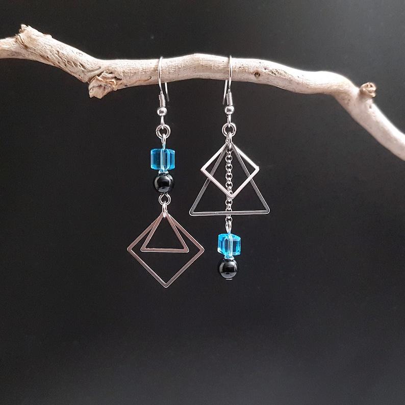 Asymmetric asymmetric earrings onyx cube blue crystal and image 0