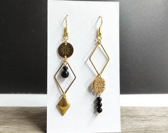 Asymmetrical earrings mismatched sun diamond onyx stainless steel gold