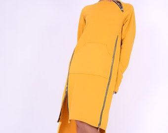 Sweatshirt dress,Yellow cotton dress, Dress with zippers,Long sleeved dress, Knee length dress,Autumn winter dress,Women dress,Dresses 275QC