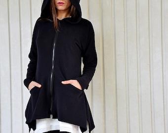 Extravagant black hoodie, quilted cotton jacket, black sweatshirt, black blazer, hoodie, black hoodie, urbanmood - Um-188-QC