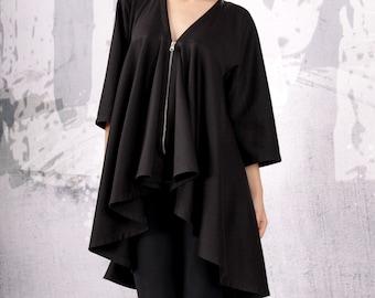 Extravagant black coat, asymmetric jacket, woman coat, black vest, black blazer, asymmetric coat  - UM-069-PU