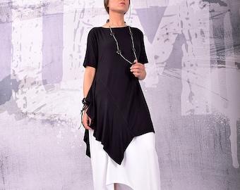 Tunic, Asymmetrical Tunic, Plus Size Tunic, Oversized Tunic, Black Tunic Top, Loose Tunic, Short Sleeves Top by UrbanMood - UM-142-VL