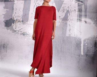 Long Dress, Plus size dress, red dress, asymmetric dress, loose dress, Over sized dress, Party dress, casual dress, UrbanMood, UM-196-VL