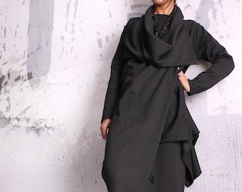 Black coat, asymmetric jacket, woman coat, black blazer, asymmetric coat,long coat,plus size coat,elegant coat,overall,UM-048-PU