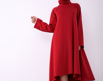 Red women dress, Long sleeved dress, Asymmetric dress, Knee length dress , Party dress, Elegant dress, Plus size dress, Dress women, UM261PU