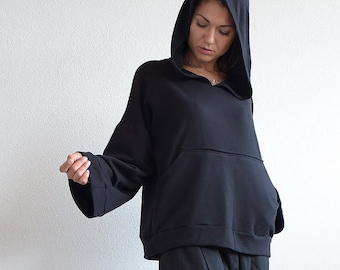 Black hoodie, quilted cotton hoodie, black sweatshirt, black long sleeved top , hoodie, black hoodie top, Sweatshirt, urbanmood,Um-245-QC