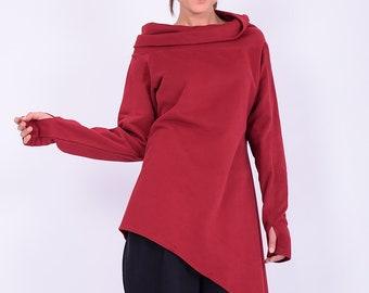 Women tunic, Cotton tunic top, Long tunic, red tunic, Quilted cotton tunic, Women sweatshirt, Long sleeves tunic, Made to order tunic, 274QC
