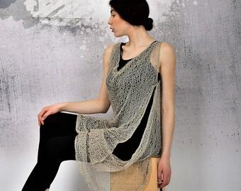 2d87bf772d Hand knit mesh top, asymmetric top, sheer top, sheer vest, long sleeveless  top, wrap top, shrug, hand knit tunic by UrbanMood - UM-K102-PT