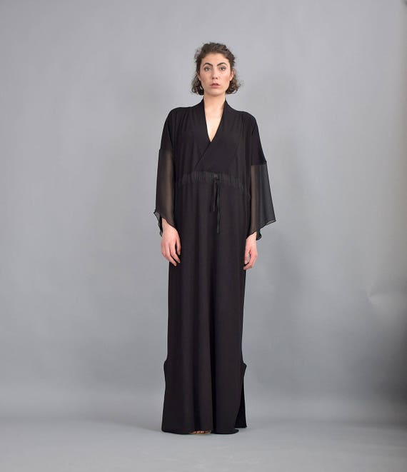 dress dress maxi VLCH Black Plus dress 221 Caftan dress sleeves Kaftan UM dress Long size dress Black dress Loose Long Woman dress qFxXpp
