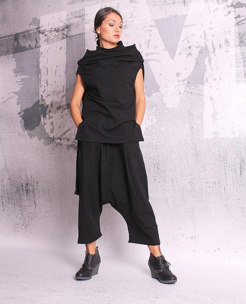 Woman Pants Black long pants loose oriental pants image 0