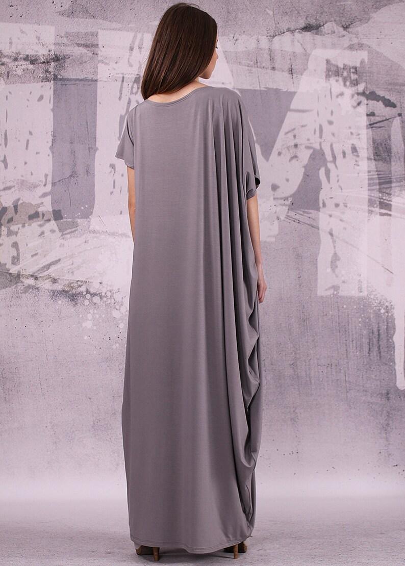 Gray extravagant loose long asymmetrical dress/ plus size image 0