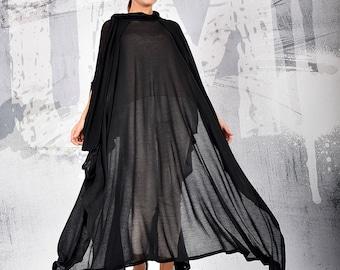 Women's Black Sheer Cape Tunic, Black Cape, Transparent Cloak, Transparent Dress, Sheer Cape, Sheer Cloak, Bolero, UM209PT