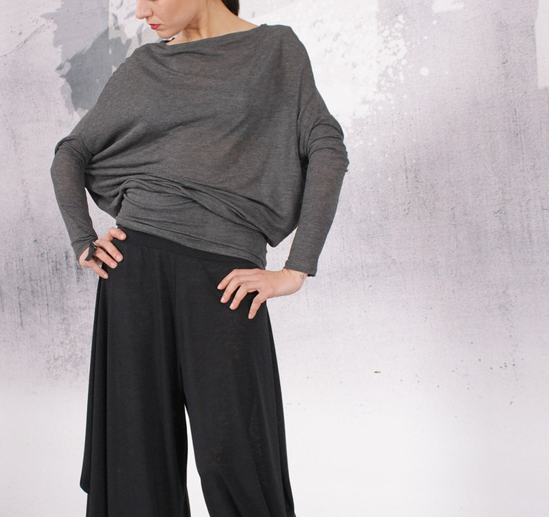 Blouse gray top loose blouse long sleeves top loose top image 0