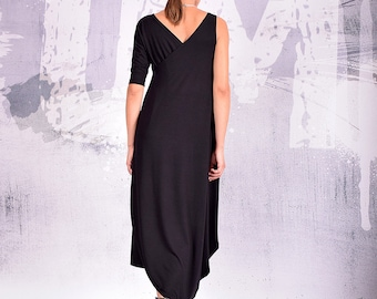 Black Dress, Loose Dress, Maxi Dress, Long Dress, Baggy dress, layered dress, asymmetric Dress, Minimalist Dress,  UrbanMood, Um-194-VL