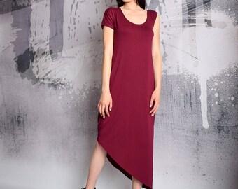 Long Dress, Plus size dress, Raspberry dress, asymmetric dress, loose dress, Over sized dress, Party dress, casual dress, UM167VL