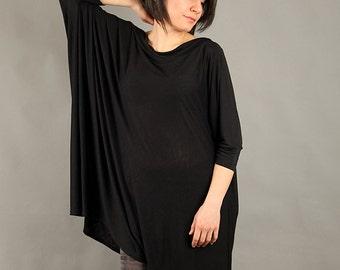 Black top, extravagant tunic, asymmetric tunic dress, plus size tunic, oversize dress, long sleeved tunic,  - CO-PEPI-FL