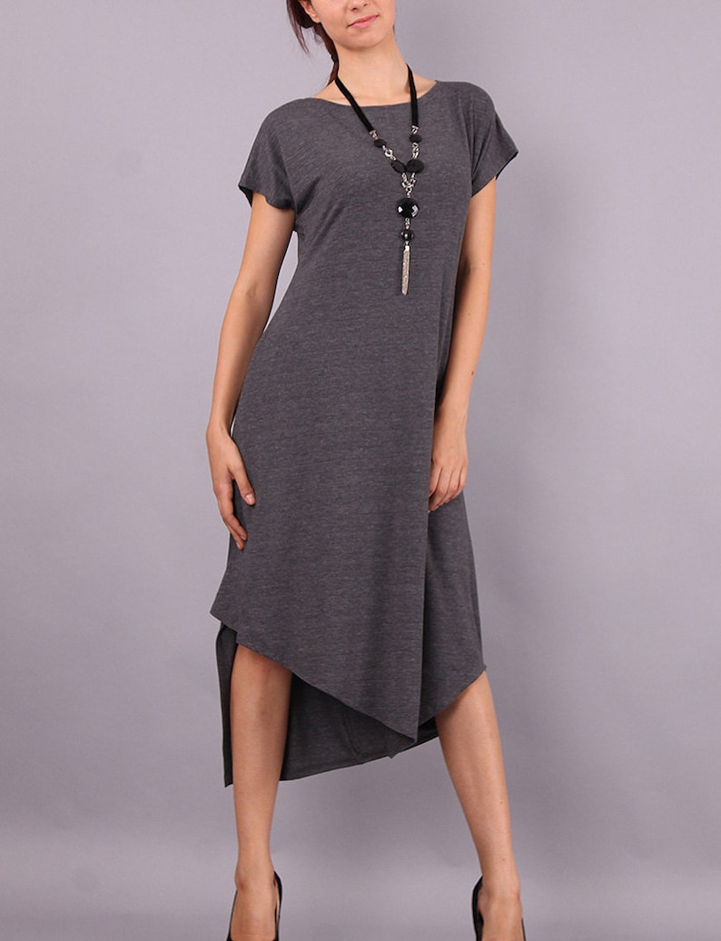 Midi Dress Asymmetric knee length dress Short sleeved dress image 0