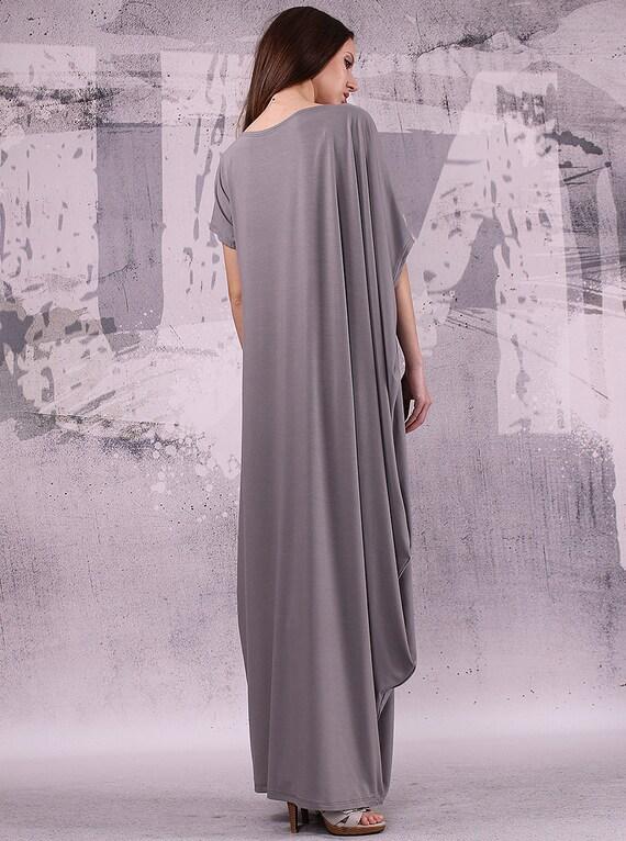 038 tunic dress asymmetric loose Gray maxi plus dress size dress long loose oversize extravagant dress dress 6UqzZgU