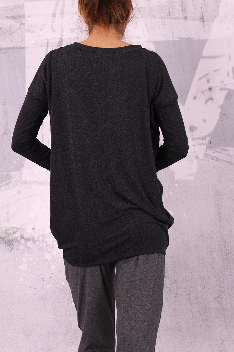 Charcoal gray blouse with extra long sleeves gray tunic gray image 0