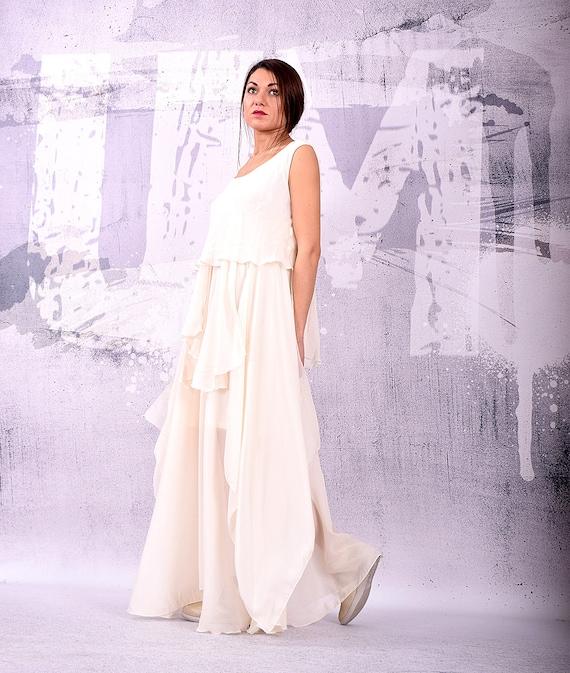 Dress White loose maxi dress Wedding dress Bridesmaid | Etsy
